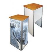 Aluminium Frame Pedestal Expo Desk with Wooden Counter-top